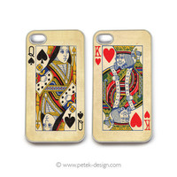 SET of 2 iPhone 4 Cases. Wedding / Anniversary Gift. King and Queen vintage playing cards. READY to SHIP Accessory for iPhone 4 and 4s.