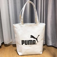 PUMA Fashion New Letter Print Canvas Women Men Shoulder Bag Handbag White