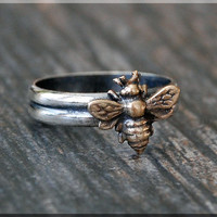 Bumble Bee Ring, Bronze Sterling Silver stacking ring, Bronze Bee ring, Rustic ring, Insect Ring, Mixed Metals Bee ring, Insect jewelry