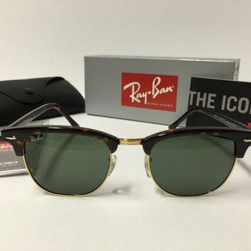New Ray Ban Clubmaster Sunglasses RB3016 W0366 Tortoise Frame 51mm
