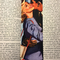 Vibrant Printed Felt Bookmark -  Romantic Illustration by Jon Whitcomb, They're Playing Our Song