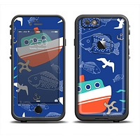The Blue Vector Fish and Boat Pattern Apple iPhone 6/6s LifeProof Fre Case Skin Set