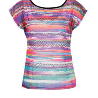 Print Front Lace Back Short-Sleeve