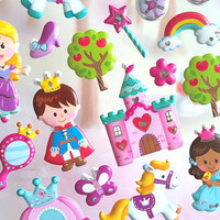 prince princess Sticker cinderella glass shoes Fairy tale castle puffy sticker pumpkin cart magic wand pony kids little girl party gift