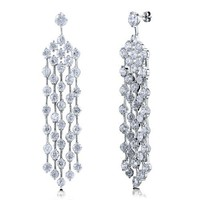 Cubic Zirconia Silvertone Chandelier Fashion Bridal Dangle Earrings #e889