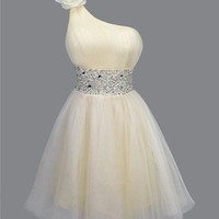 Gorgeous Sweetheart Stunning Rhinestones One-Shoulder Mini Prom Dress