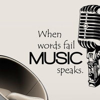 Wall Decal Vinyl Sticker Decals Art Decor Design Sign When Worlds fail Music Speaks Microphone Mic Retro Music Dorm Bedroom Fashion (r753)