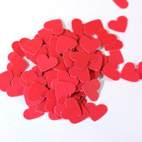 Red Heart Cut Outs: Little Red Cardstock Hearts 25, 100, 250, 500 - paper Scrapbook Embellishment Cardmaking supplies 1/2 inch table scatter