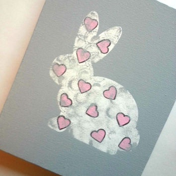 bunny rabbit and hearts acrylic canvas painting for trendy baby girls room