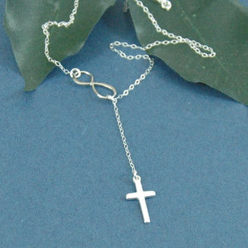 Cross And Infinity Necklace, Infinity Necklace, Infinity Ring, Silver Cross, Sterling Silver Necklace, Silver Lariat, Wedding Jewelry
