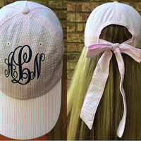 Monogrammed Seersucker Baseball Hat with Bow