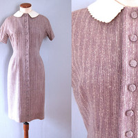 50s Lanz dress -  vintage mid century lavender purple sheath nubby vertical stripe button down white peter pan collar retro pinup wiggle fit
