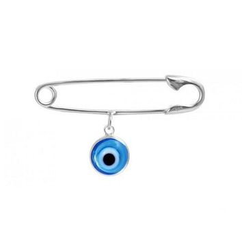Silver Safety Pin with Blue Evil Eye