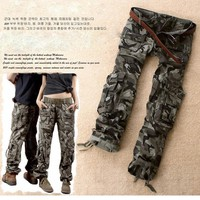 Free Shipping Camouflage Pants Female Casual Trousers Mid Waist Male Pants Loose Cargo Pants For Women Pants