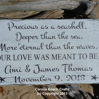 Beach Wedding - Personalized - 18x12 - Wedding Sign Decor - Nautical Wedding - Coastal Wedding - Anniversary - Hand Painted - Rustic