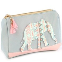 Pastel Elephant Cosmetic Makeup Bag or Pouch Wallet