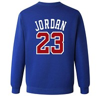Jordan 23 Loose sweater size male in spring and autumn youth sports leisure T-shirt jumper tide Blue