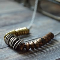 Mixed Metal Necklace Layering Necklaces Bronze, Silver, and Gold