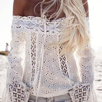 White Off Shoulder Bell Sleeve Cutwork Lace Panel Top