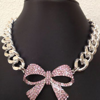 Dollyface, Pink Crystal Bow with Large Chunky Silver Chain Necklace