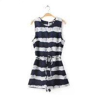 Summer Women's Fashion Round-neck Sleeveless Stripes Patchwork Waistband Jumpsuit [5013348996]
