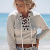 Gray V-neck Cropped Sweatshirts