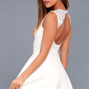 Need You Close White Lace Backless Skater Dress