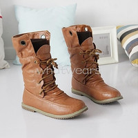 Womens Lace-Up Buckle Strap Ankle fashionable Flattie Boots Shoes = 1946118980