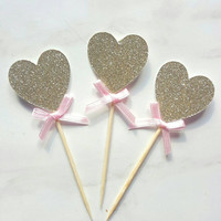 12 x heart pink and gold cupcake topper, cake topper, gold glitter, birthday decoration, wedding decoration, engagement party, baby shower