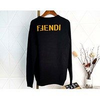 Fendi new color matching jacquard letter sweater
