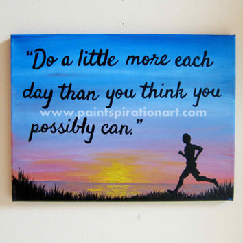 Motivational Print Art Inspirational Quotes Wall Art Runner Painting - Workout Motivation Quote Wall Hangings - Silhouette Artwork - Gym Art