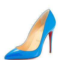 Pigalle Follies Point-Toe Red Sole Pump, Blue - Christian Louboutin