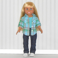 18 inch Doll Clothes Denim Jeans with Green Plaid Button Up Shirt and Aqua Tank Top 3 piece Outfit