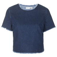 PETITE Raw Hem Denim T-Shirt - Indigo Denim