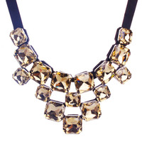 Coffee Retro Crystal Fake Collar Bib Necklace