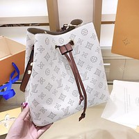 LV Louis Vuitton High Quality Women Shopping Leather White Bucket Bag Shoulder Bag Crossbody Satchel