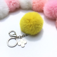 Silver Summer Series Rusty Yellow REX Rabbit fur pompom keychain ball with flower bag charm