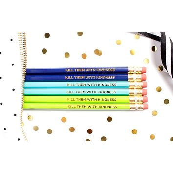 Kill Them With Kindness Pencil Set in Lime, Teal and Blue