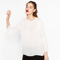 FLARED SLEEVE GLOSSY BLOUSE DETAILS