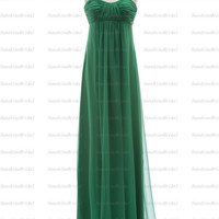 Real A-line Sweetheart Sleeveless Floor-length Chiffon Pleat Green Long Bridesmaid Dresses Party Dresses Formal Dresses 2014 New Arrival