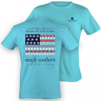 Simply Southern Home Of The Free Tee - Blue