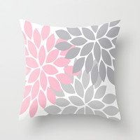 Bold Colorful Pink Grey Dahlia Flower Burst Petals Throw Pillow by TRM Design