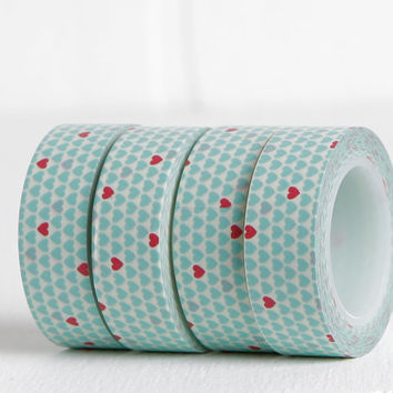 Light Blue and Red Allover Heart Washi Tape, DIY Anniversary Romantic Valentine Card, 15mm