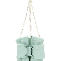Round Bow Cross-body Bag in Mint