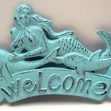 Mermaid Welcome Door Sign Swimming with her Dolphin Friends Wall Decor Beach Blue Distressed Cottage Chic Nautical Plaque