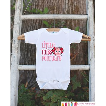 Little Miss February Onepiece Bodysuit - Take Home Outfit For Newborn Baby Girls - Pink & Red Love Bug Infant Going Home Hospital Onepiece