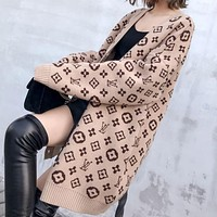 LV Louis Vuitton Fashion Women Print V Collar Sweater Knit Cardigan Jacket Coat Khaki
