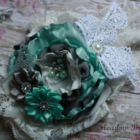 SHABBY HEADBAND, girls, baby, toddler, mint green, gray, grey, mustard pie, spring, over the top, ooak, lace, rhinestone, vintage, ivory