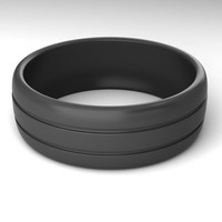 Silicone Wedding Ring Set for Active and Athletic Men-Double Debossed Wedding Ring-2 Piece Set Black and Grey