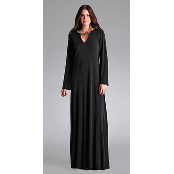 Black Jeweled Rayon Jersey Evening Dress